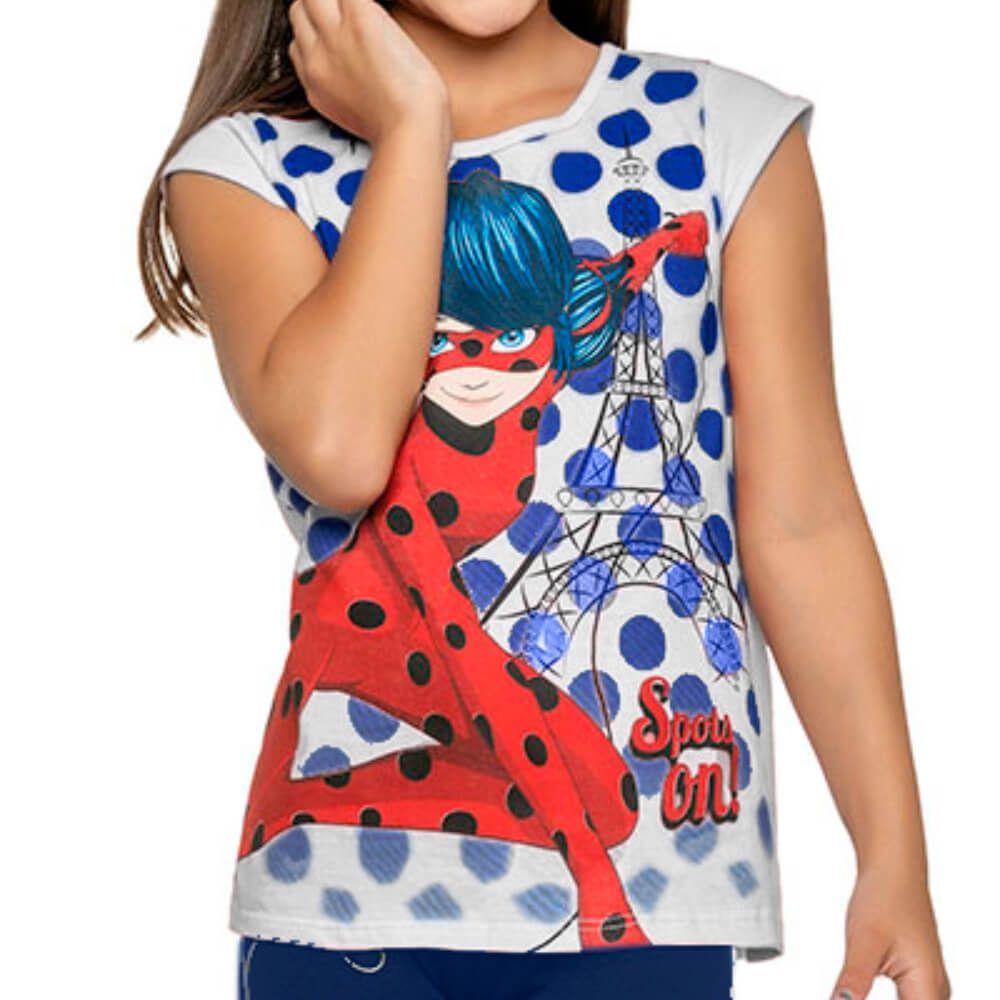 Conjunto Infantil Menina Manga Curta Ladybug Legging