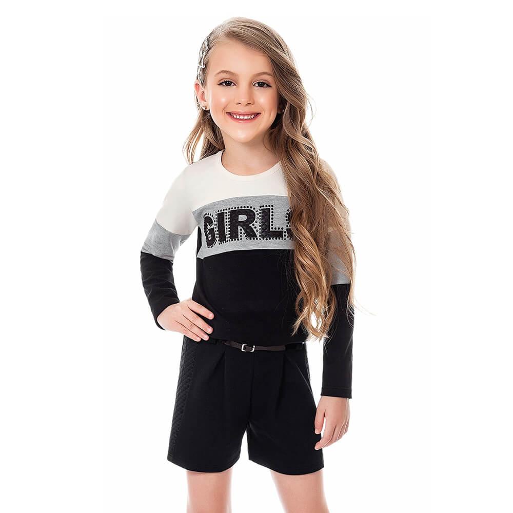 Conjunto Infantil Menina Girls Branco