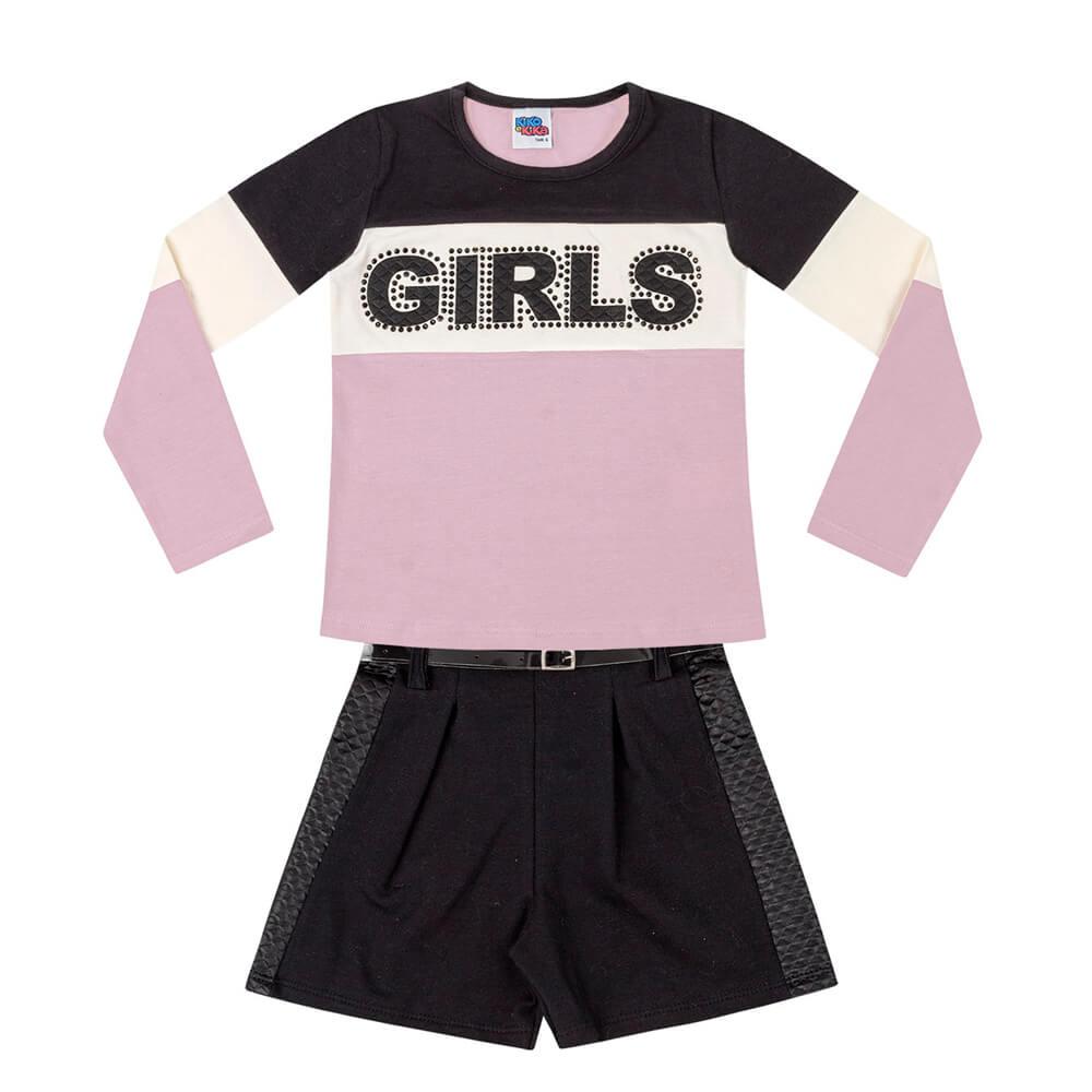 Conjunto Infantil Menina Girls Lilás