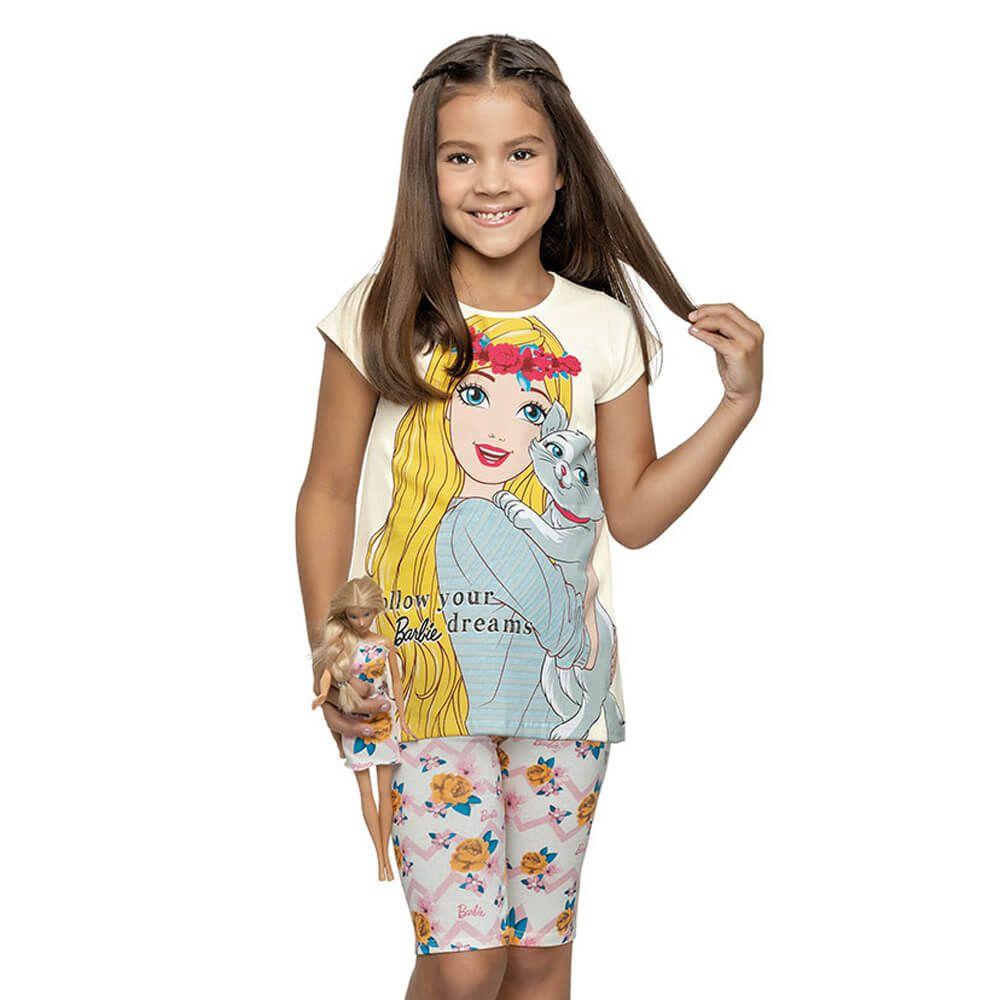 Conjunto Infantil Menina Manga Curta Barbie Dress Branco