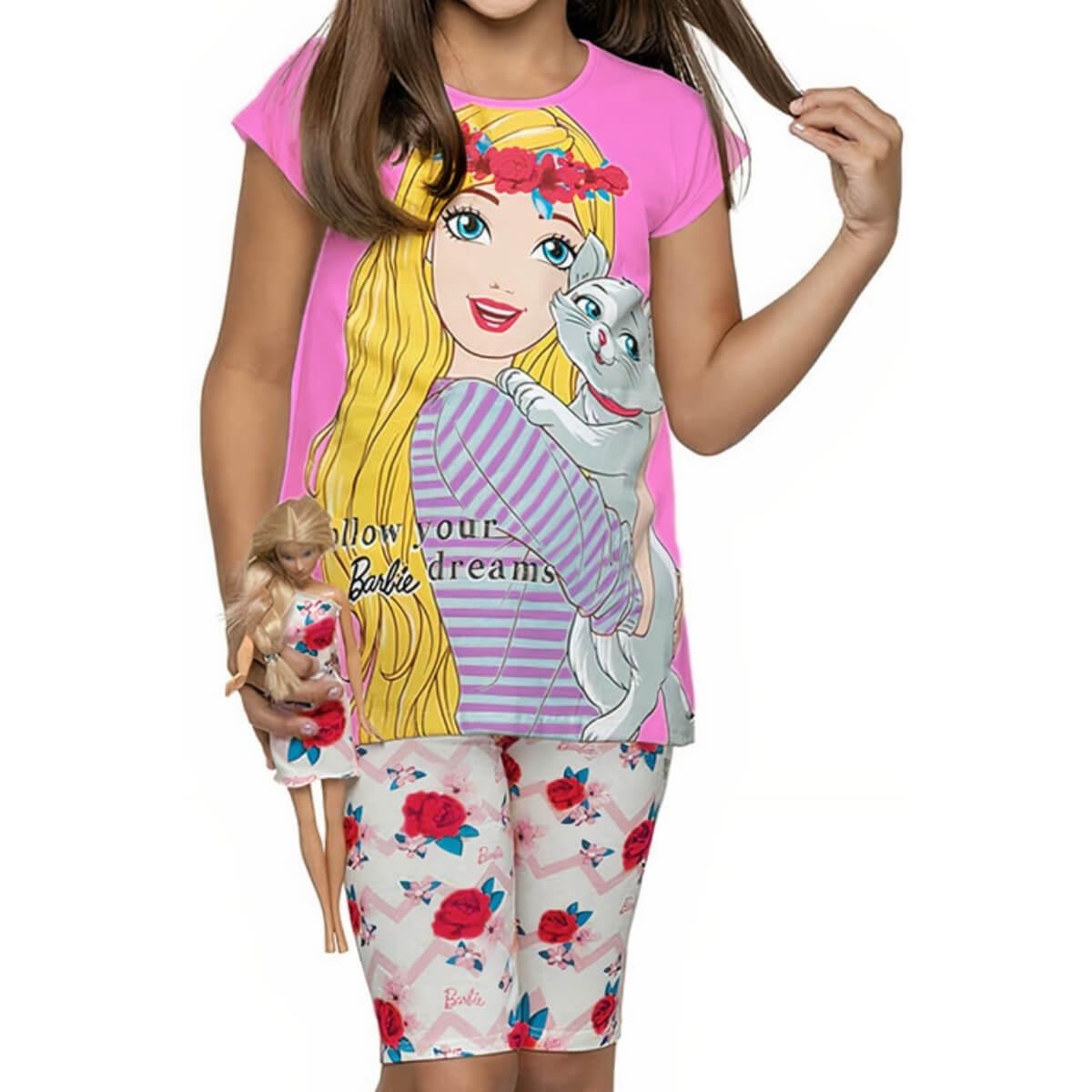 Conjunto Infantil Menina Manga Curta Barbie Dress Rosa