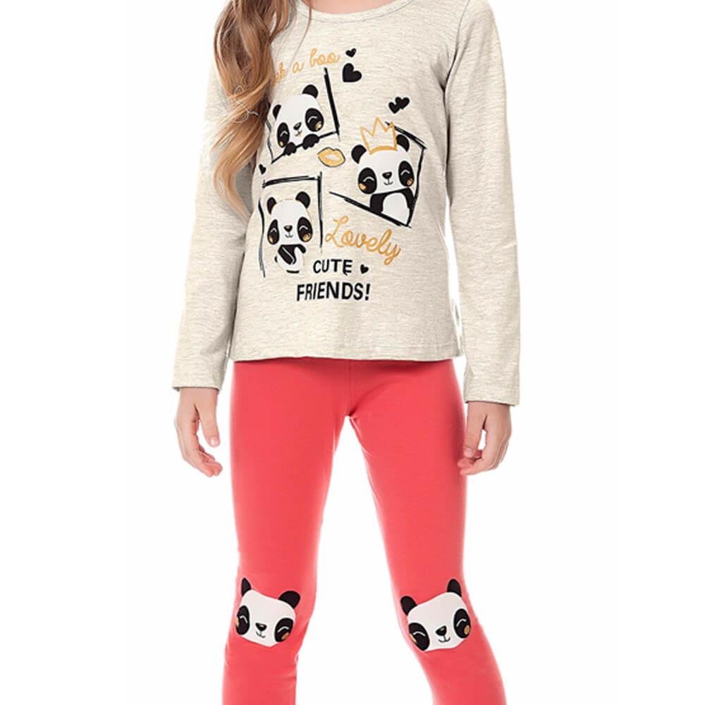 Conjunto Infantil Menina Panda Cinza