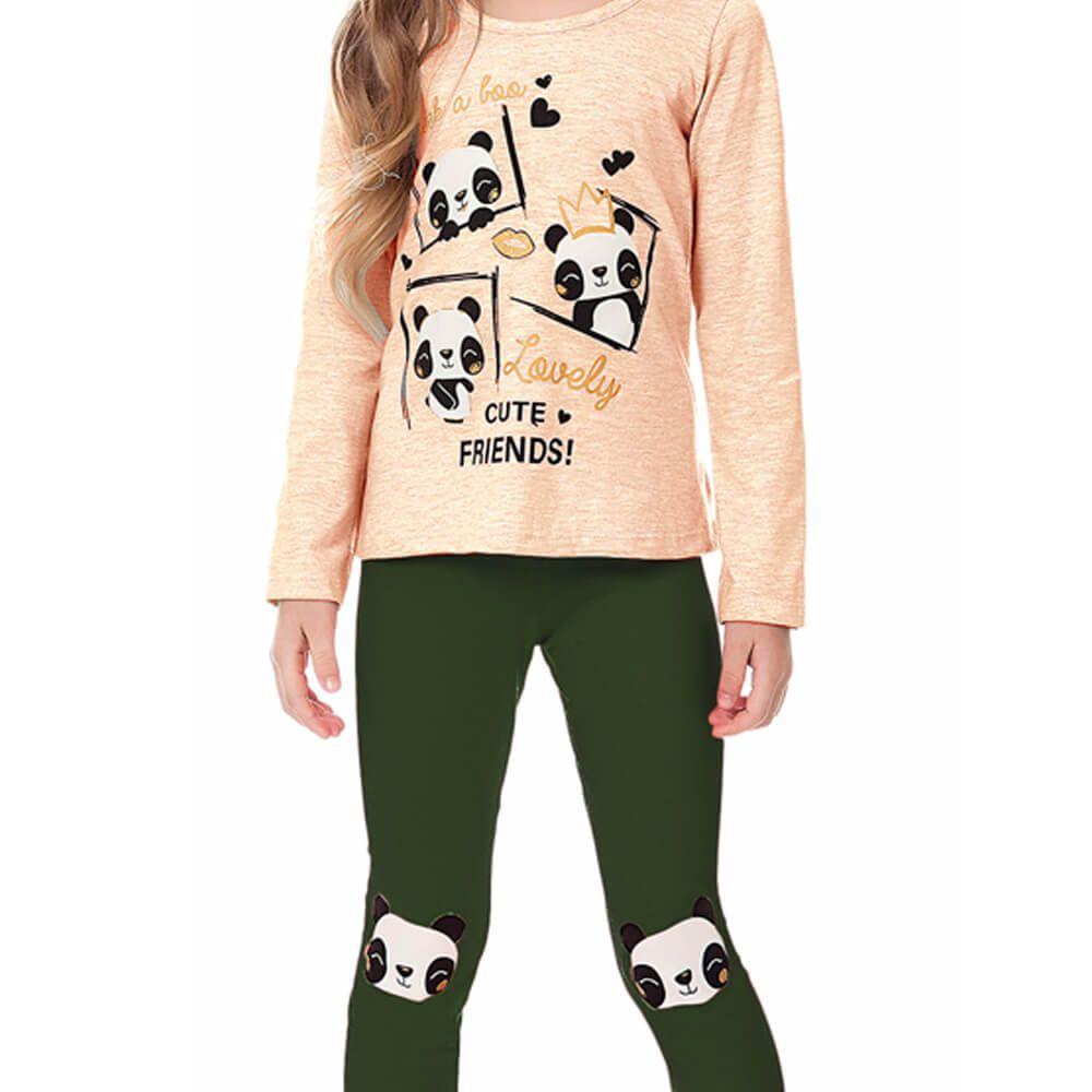 Conjunto Infantil Menina Panda Rosê