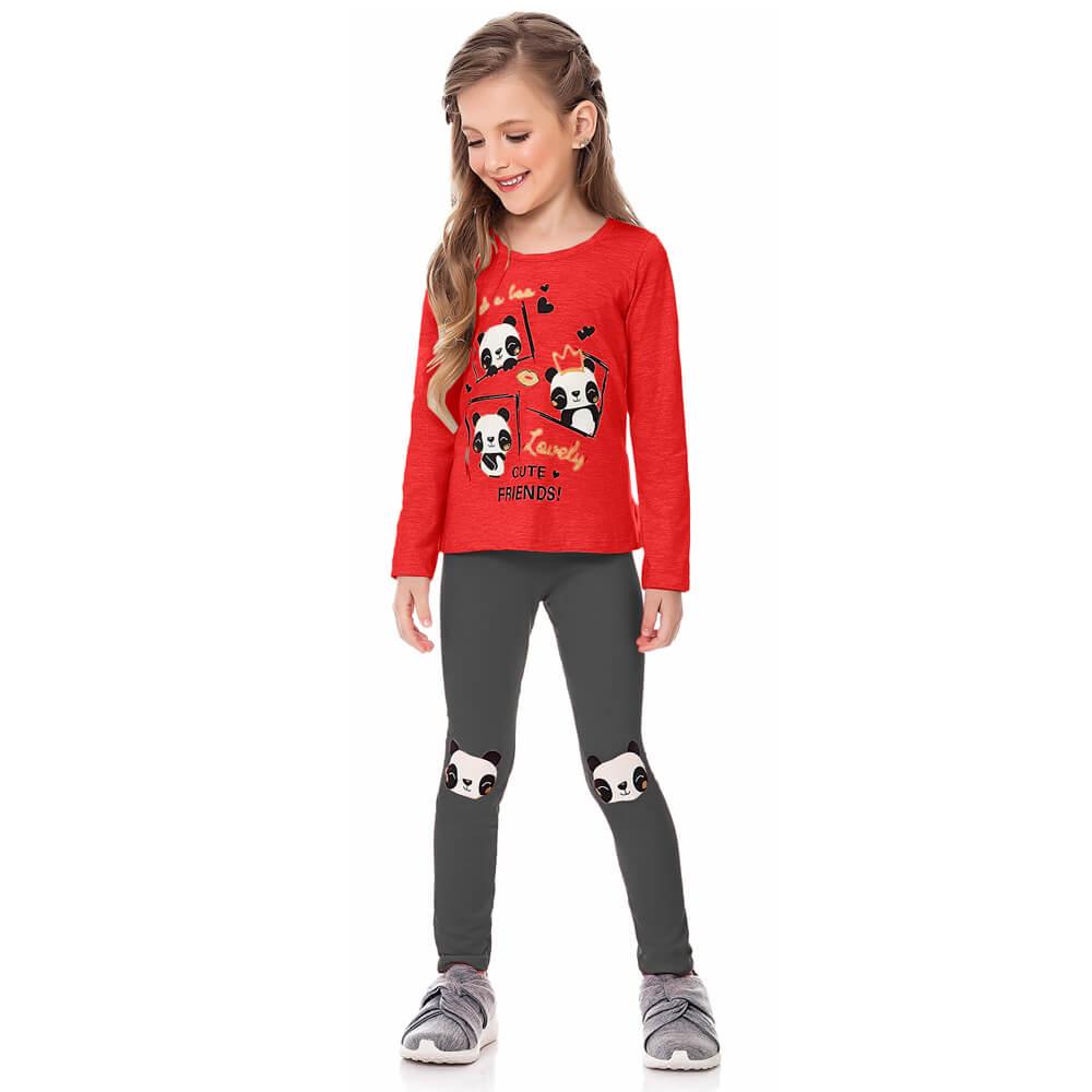 Conjunto Infantil Menina Panda Vermelha