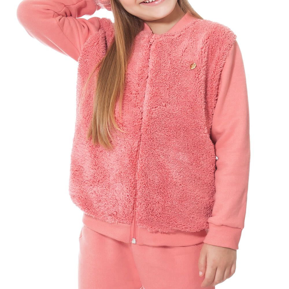 Conjunto Infantil Menina Pelúcia Rosa