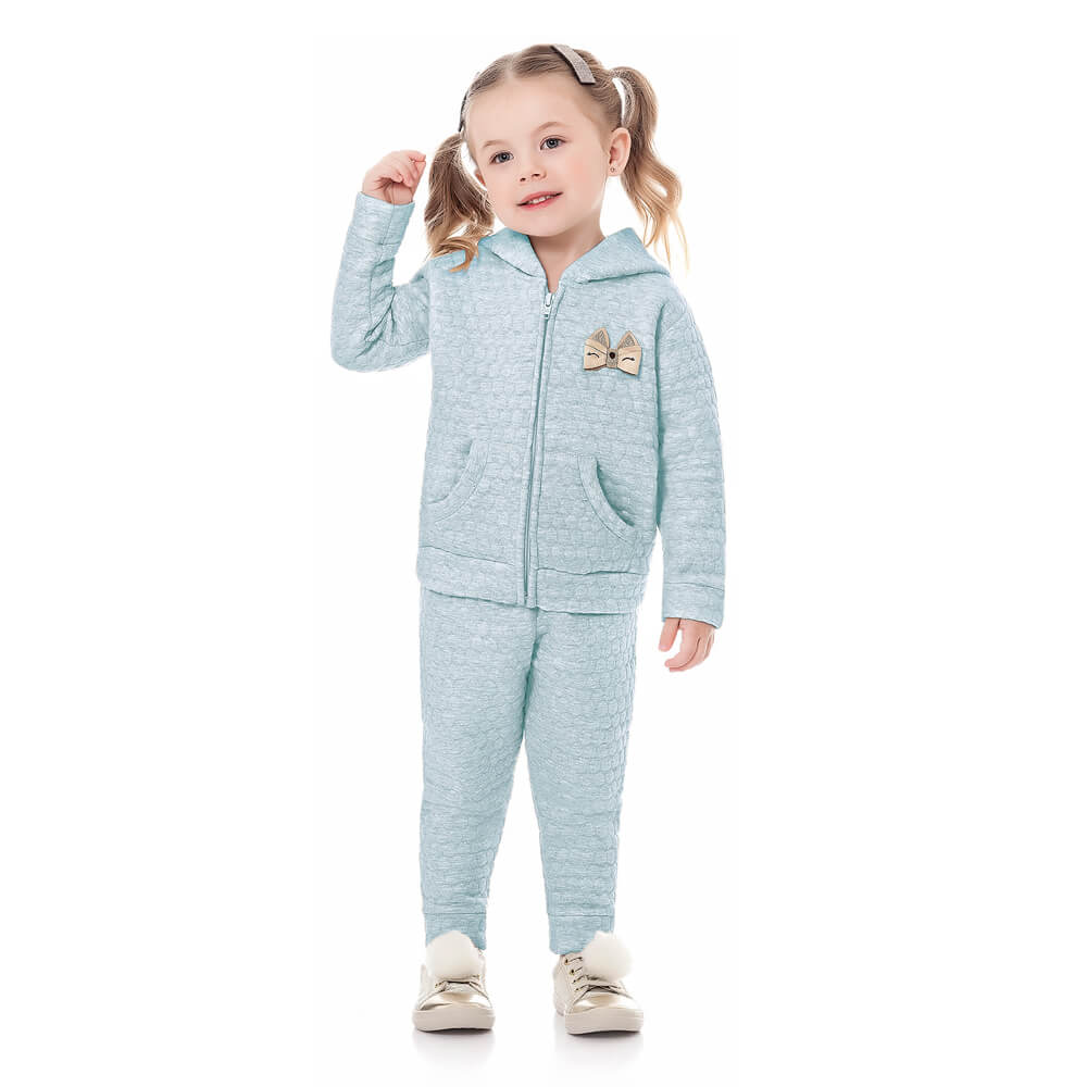 Conjunto Moletom Bebê Menina Azul