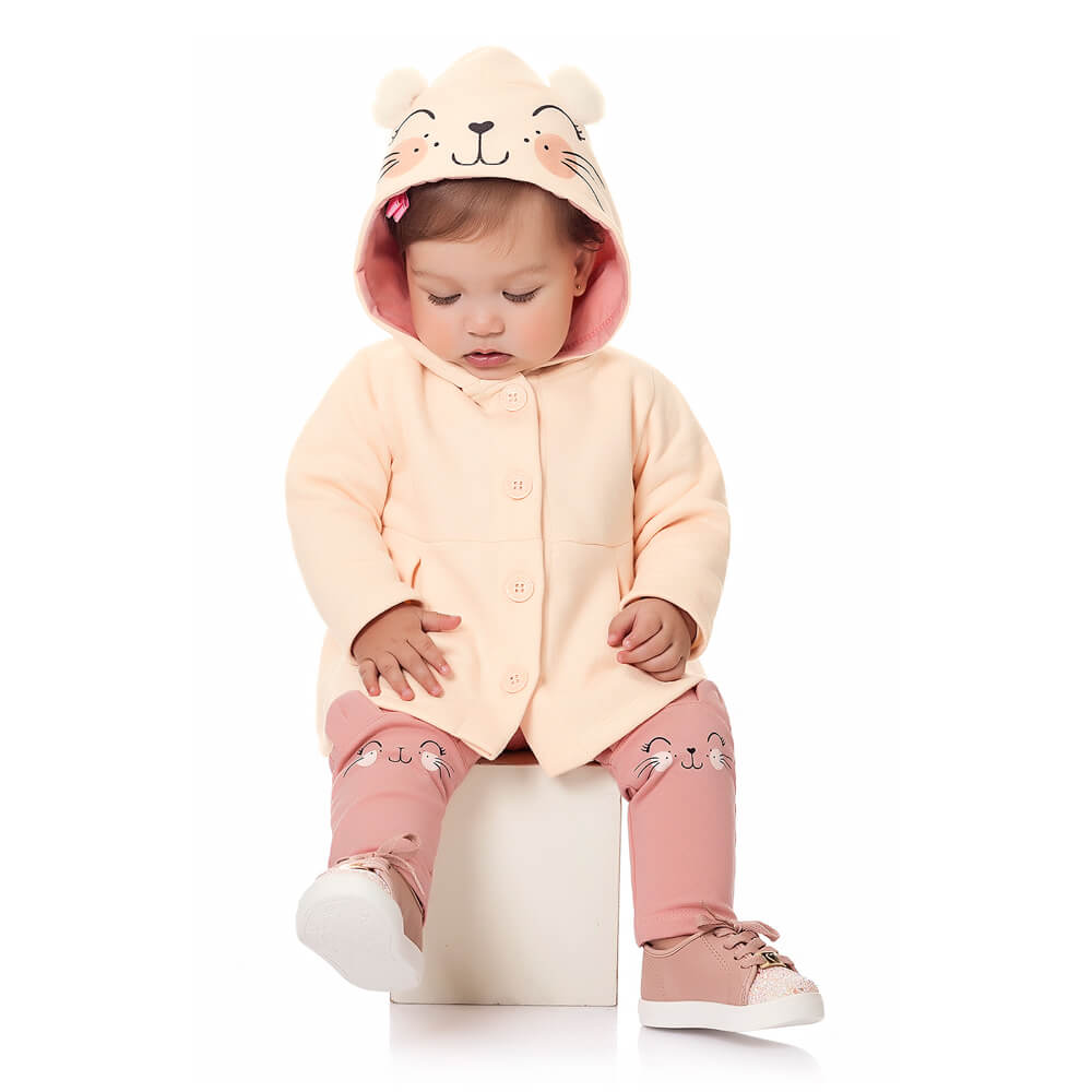 Conjunto Moletom Bebê Menina Gatinha