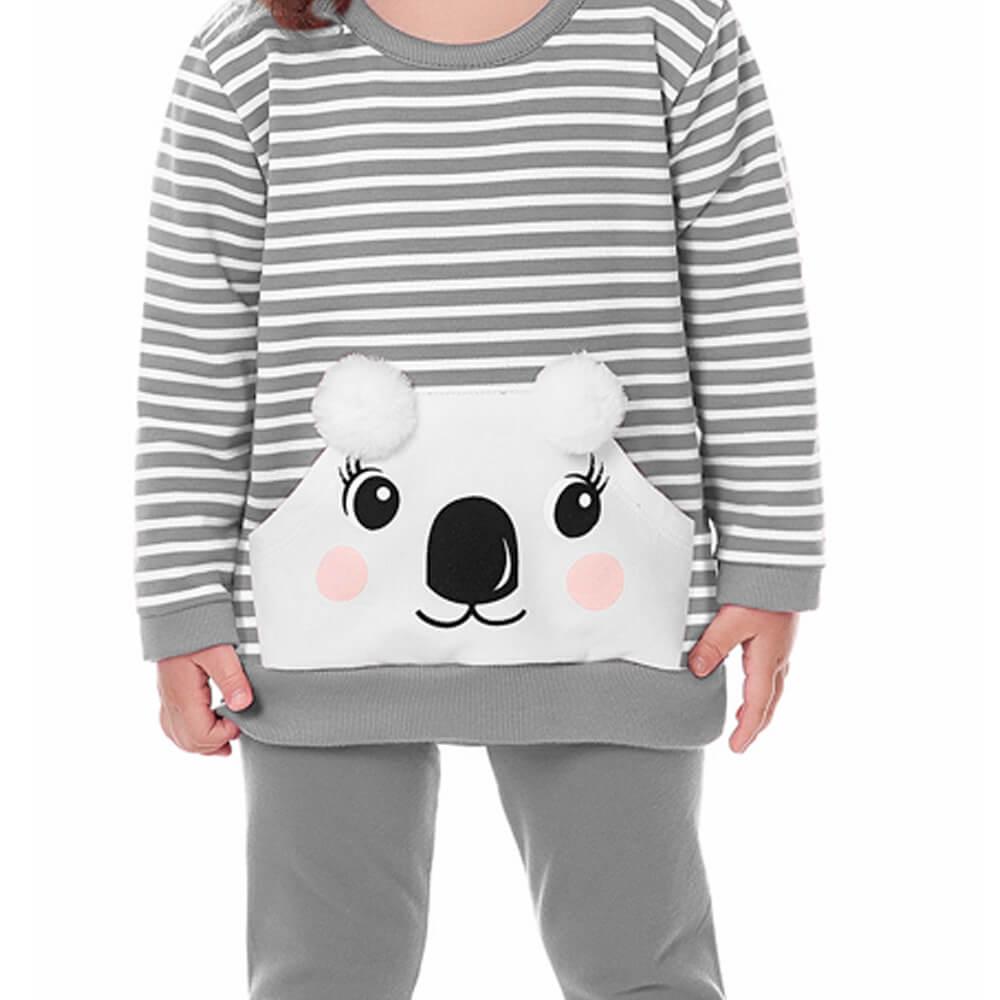 Conjunto Moletom Bebê Menina Koala Cinza