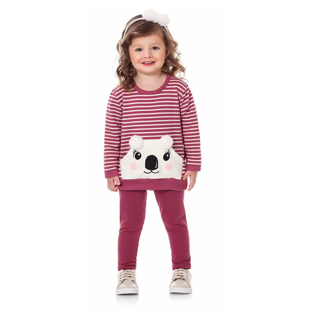 Conjunto Moletom Bebê Menina Koala Rosa Escuro