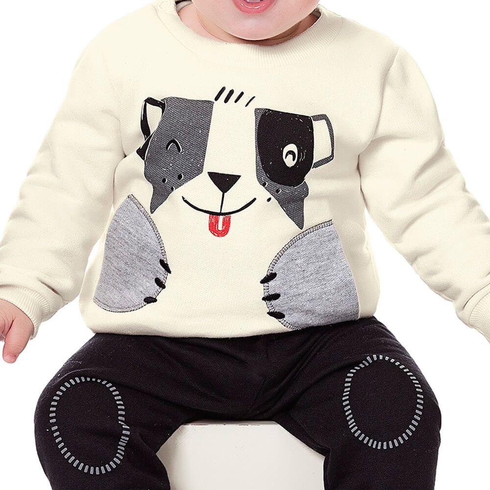 Conjunto Moletom Bebê Menino Cachorrinho