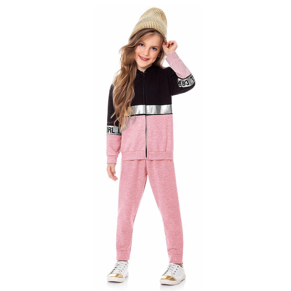 Conjunto Moletom Infantil Menina Glam Rosa