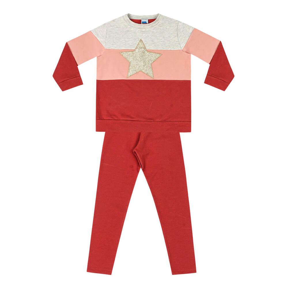 Conjunto Moletom Infantil Menina Star Vermelho