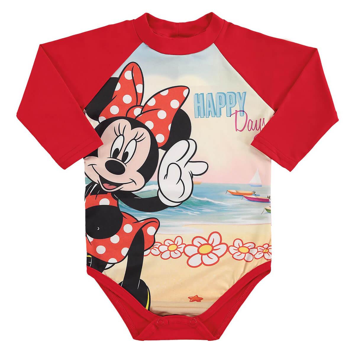 Body Bebê Menina Proteção UV Minnie