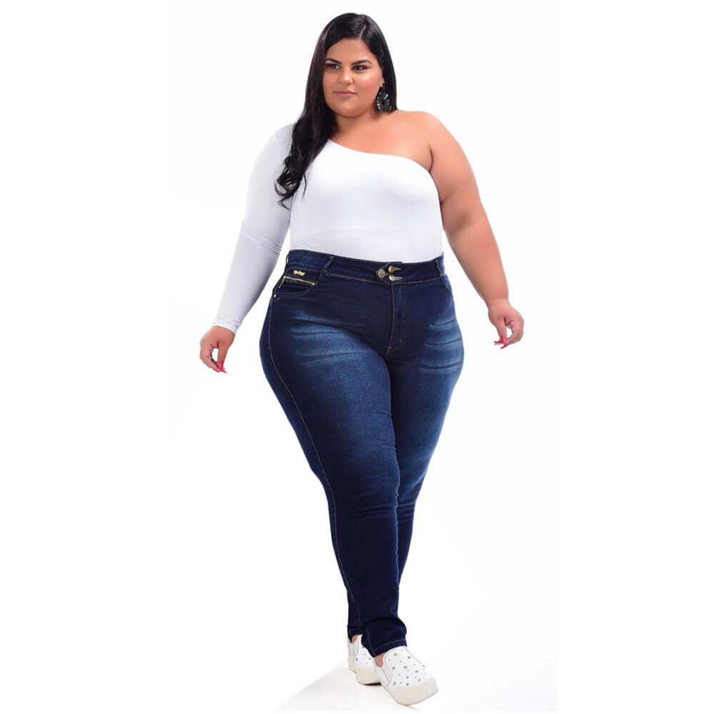 Cigarrete Jeans Feminina Plus Size Cintura Alta