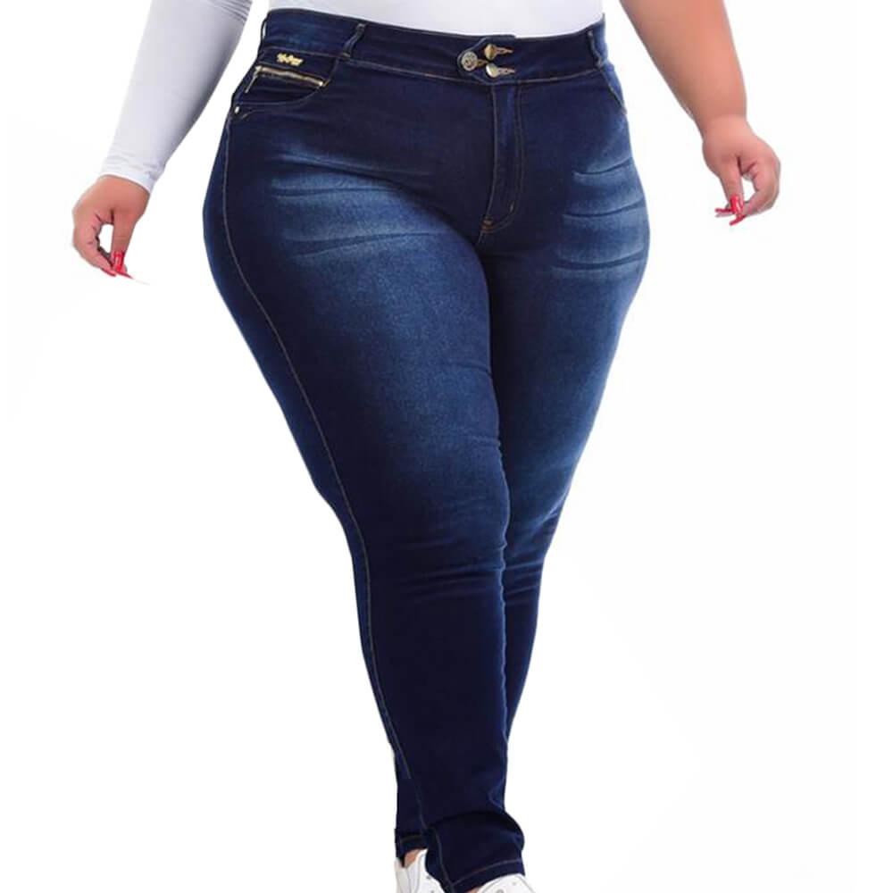 Calça Jeans Feminina Xtra Charme Plus Cigarrete