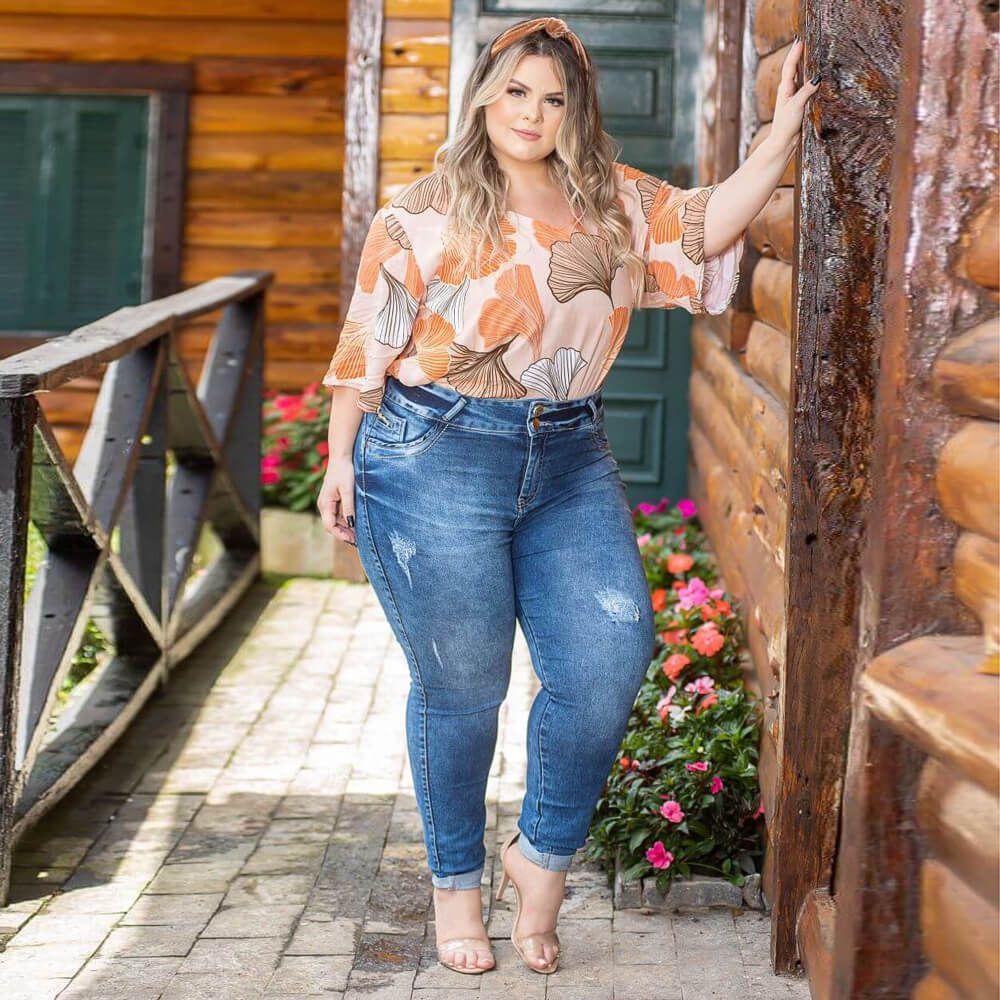 Calça Jeans Feminina Skinny Plus Size Cintura Média Acid Wash