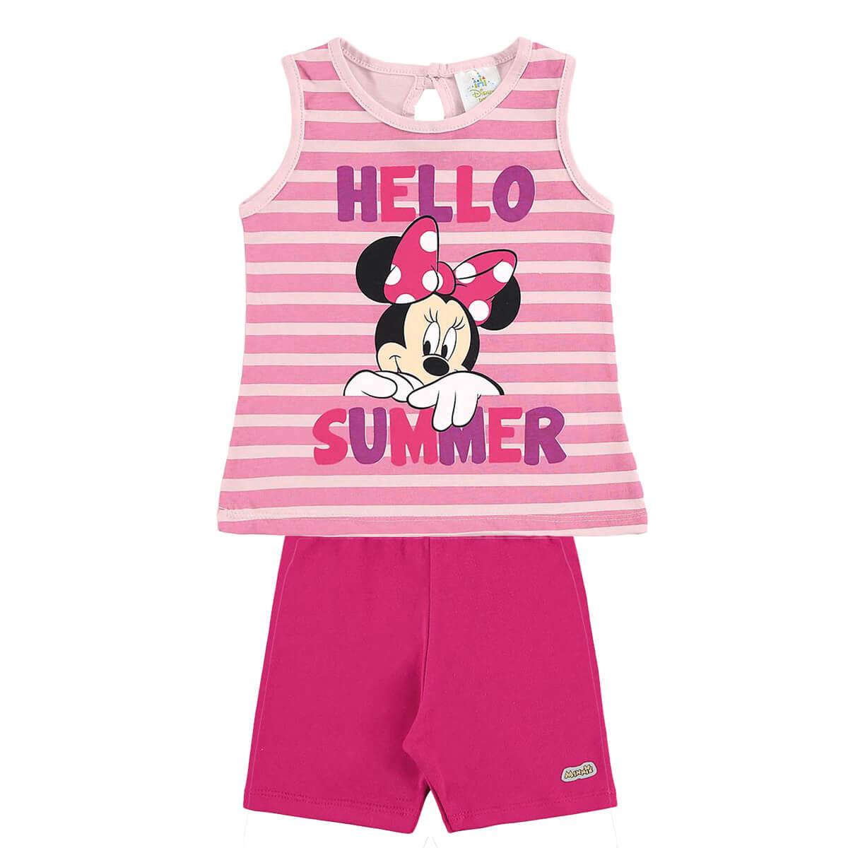 Conjunto Bebê Menina Regata Minnie Hello Summer