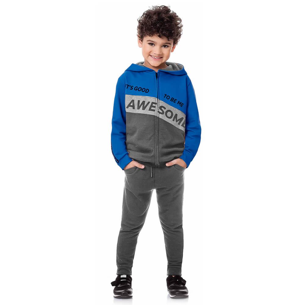 Conjunto Infantil Menino Moletom Awsome Azul