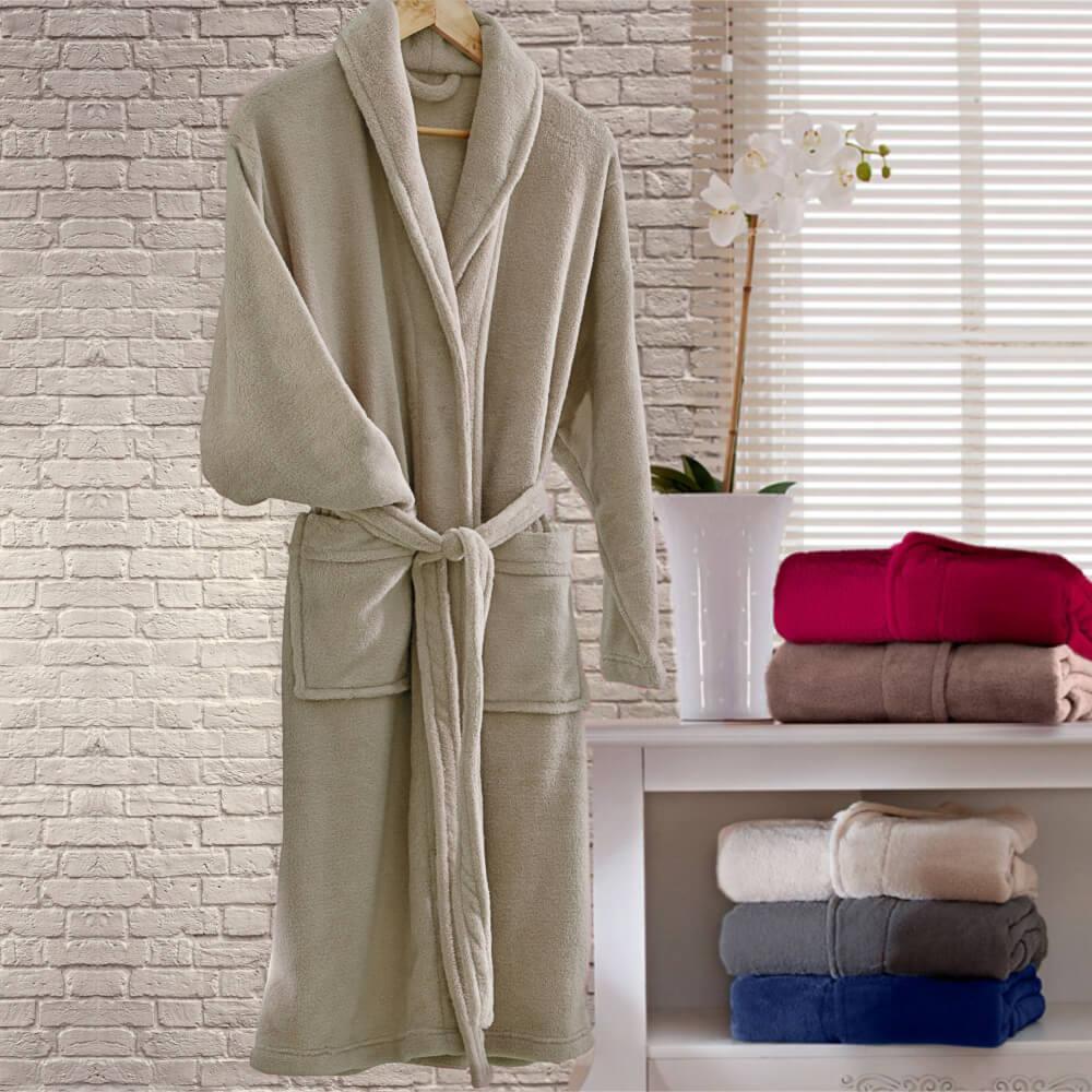Roupão Adulto Kimono Bege