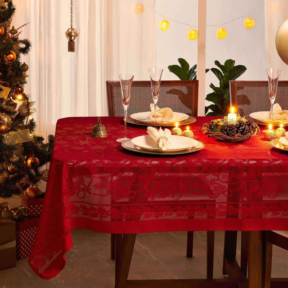 Toalha de Mesa Retangular Renda Natal