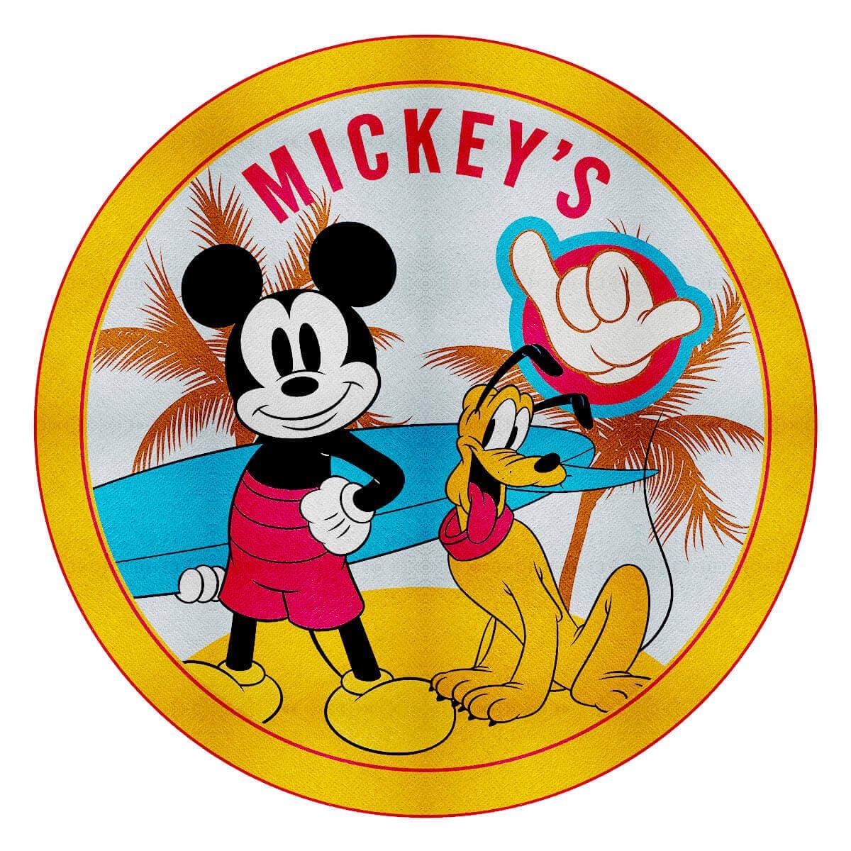 Toalha de Praia Infantil Aveludada Redonda Mickey Hangloose
