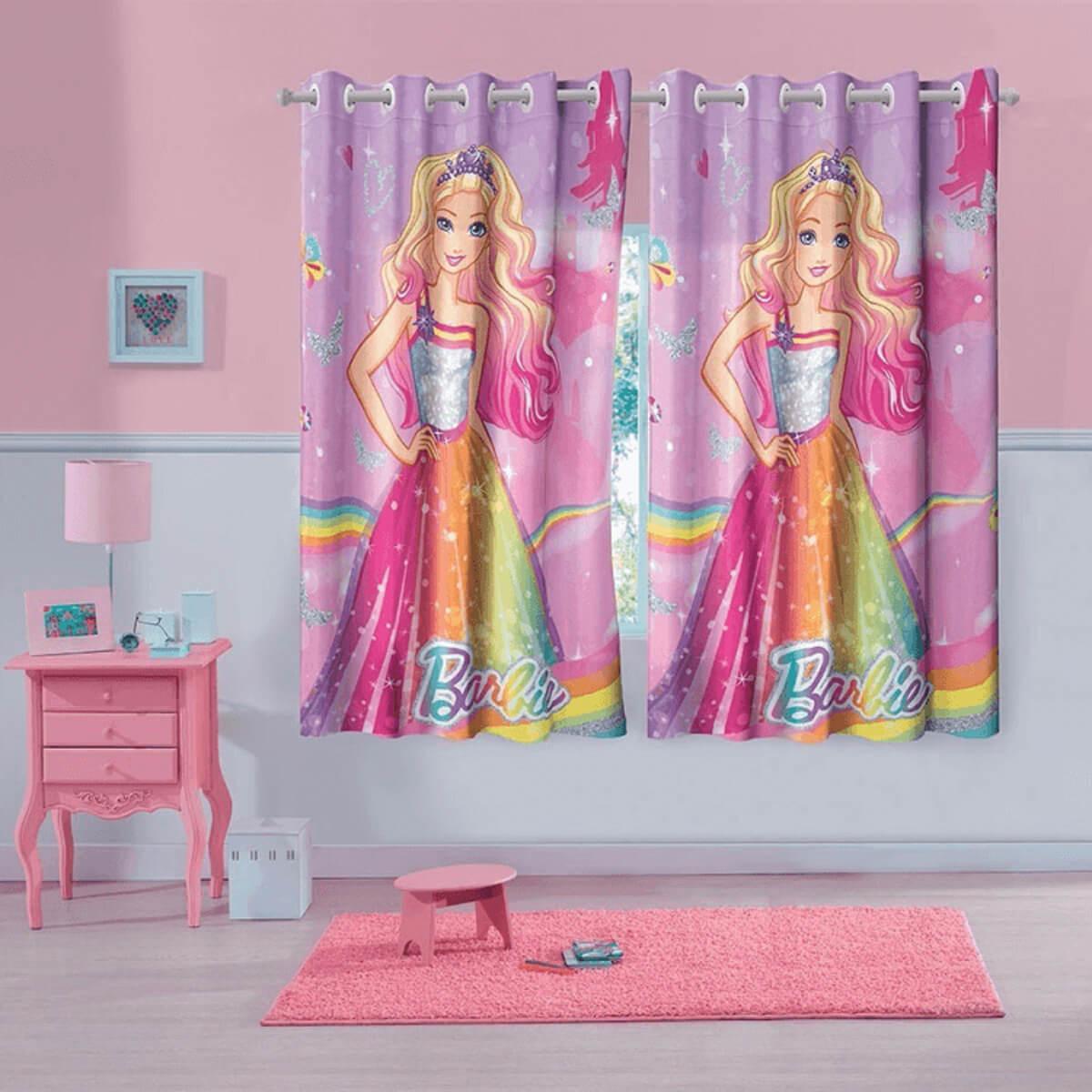 Cortina de Varão Infantil 3,00x1,80m Barbie Reinos Mágicos