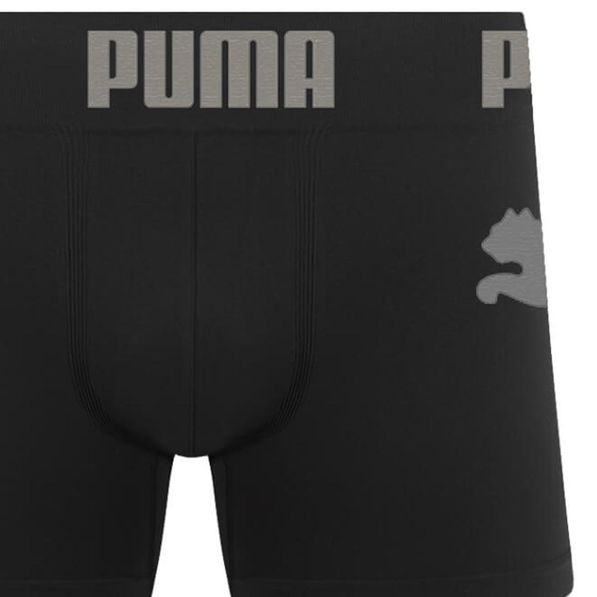 Cueca Boxer Puma Microfibra Preta e Cinza