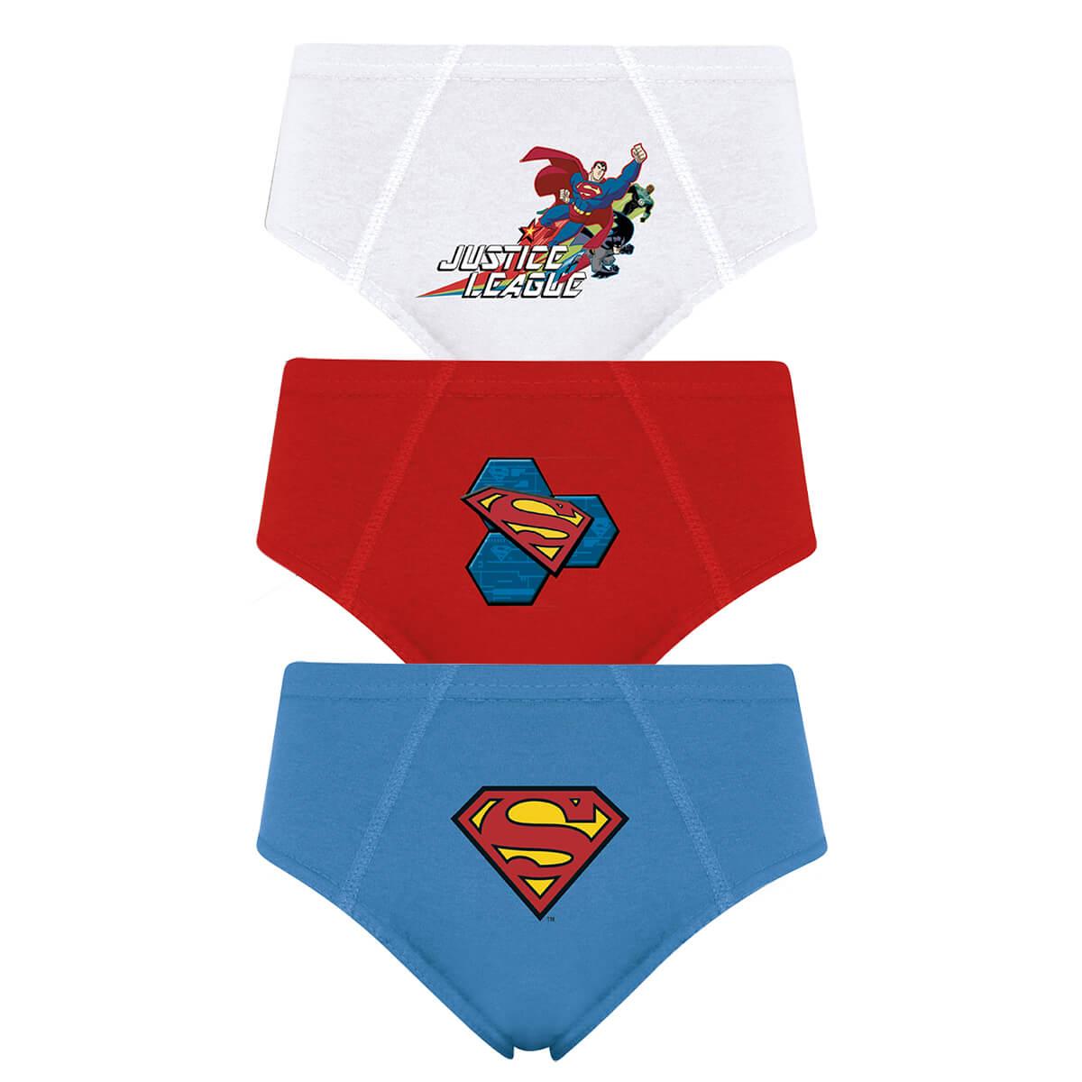 Cueca Infantil 3 Peças Liga da Justiça Super Homem