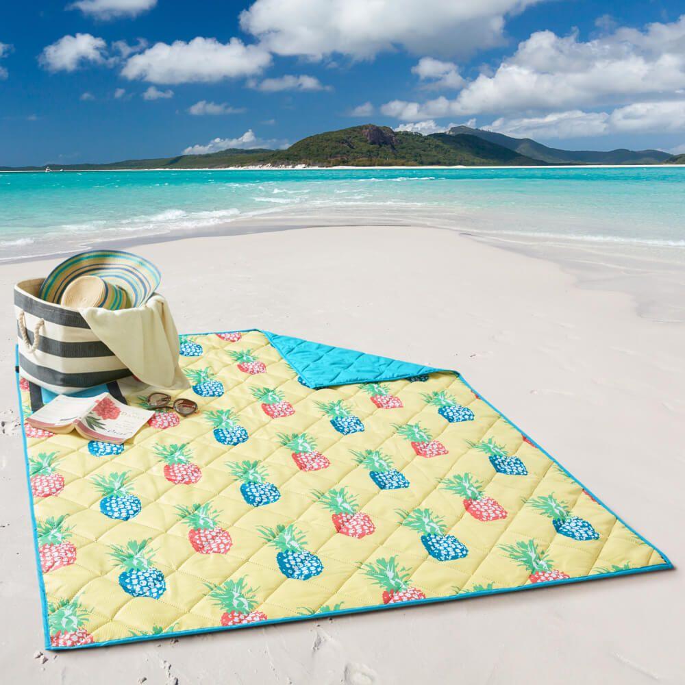 Esteira de Praia Dobrável Dupla Face Abacaxi