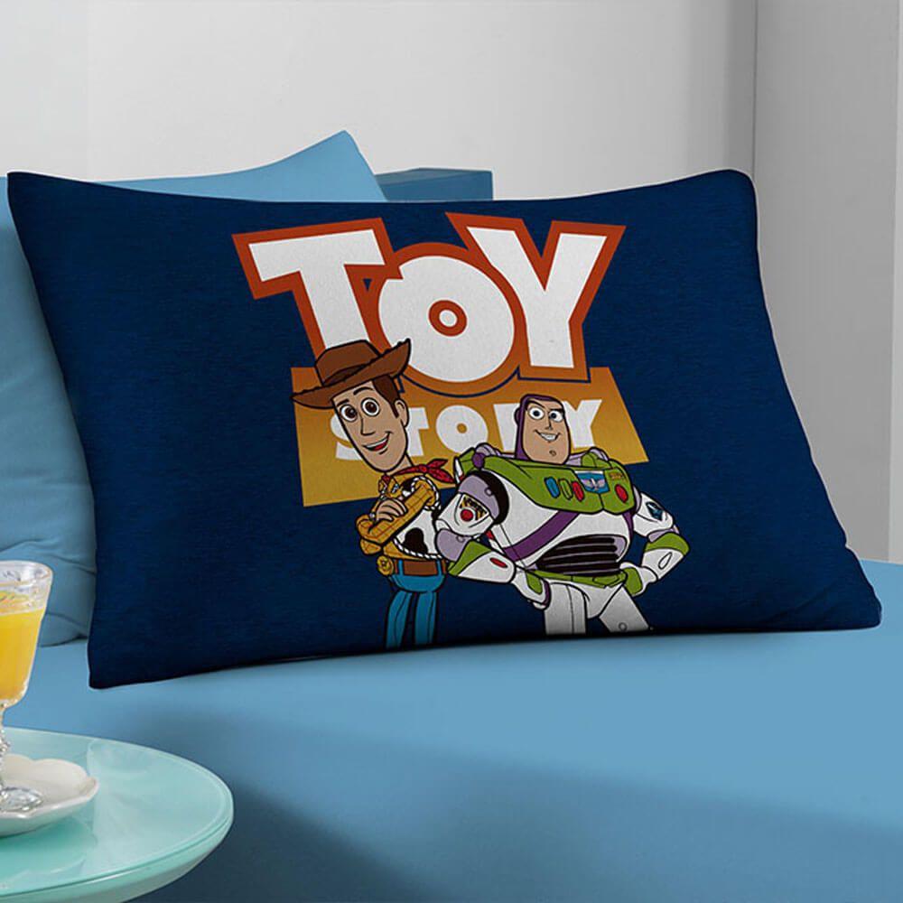 Fronha Infantil Malha Toy Story Woody e Buzz Azul