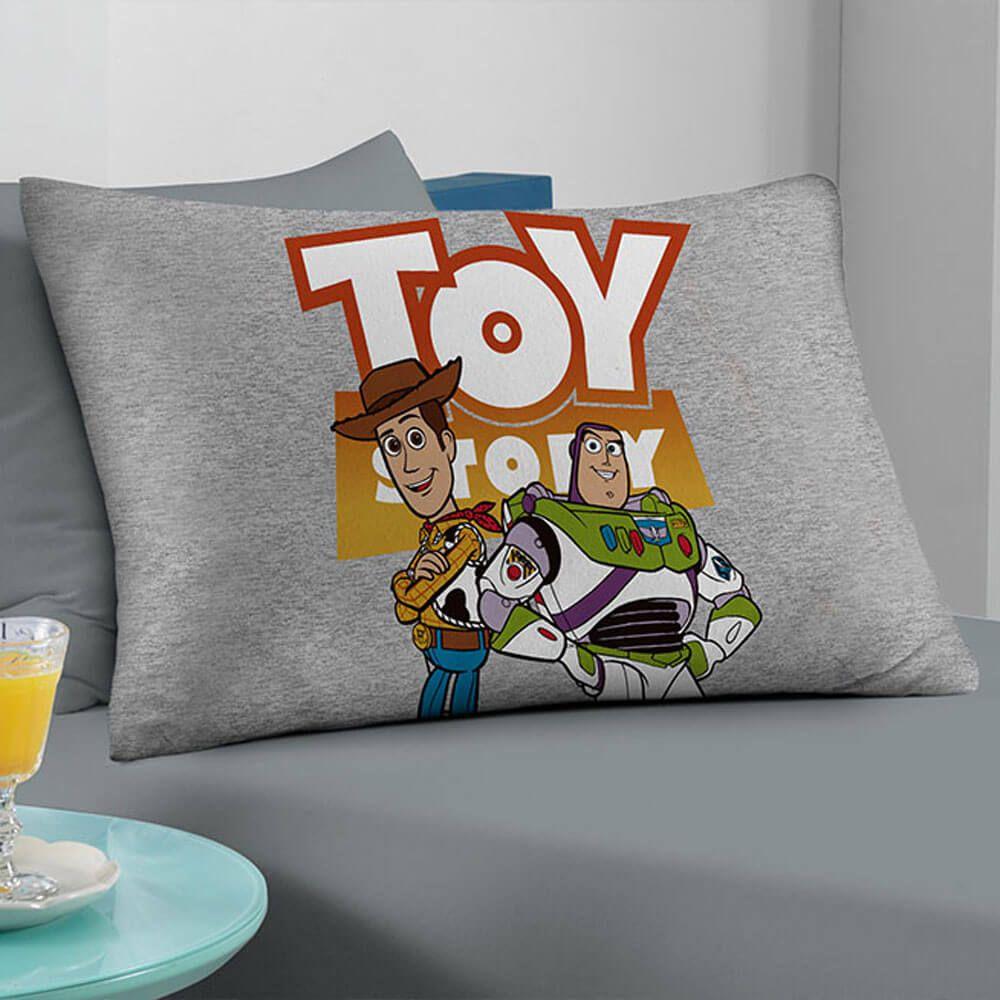 Fronha Infantil Malha Toy Story Woody e Buzz Cinza
