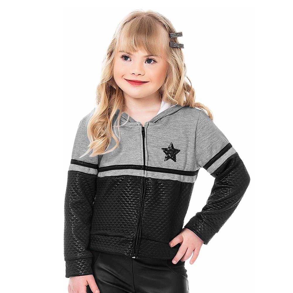 Jaqueta Infantil Menina Moletom Star Cinza