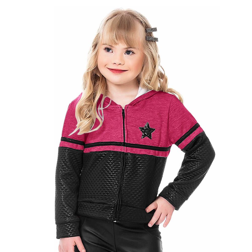Jaqueta Infantil Menina Moletom Star Pink