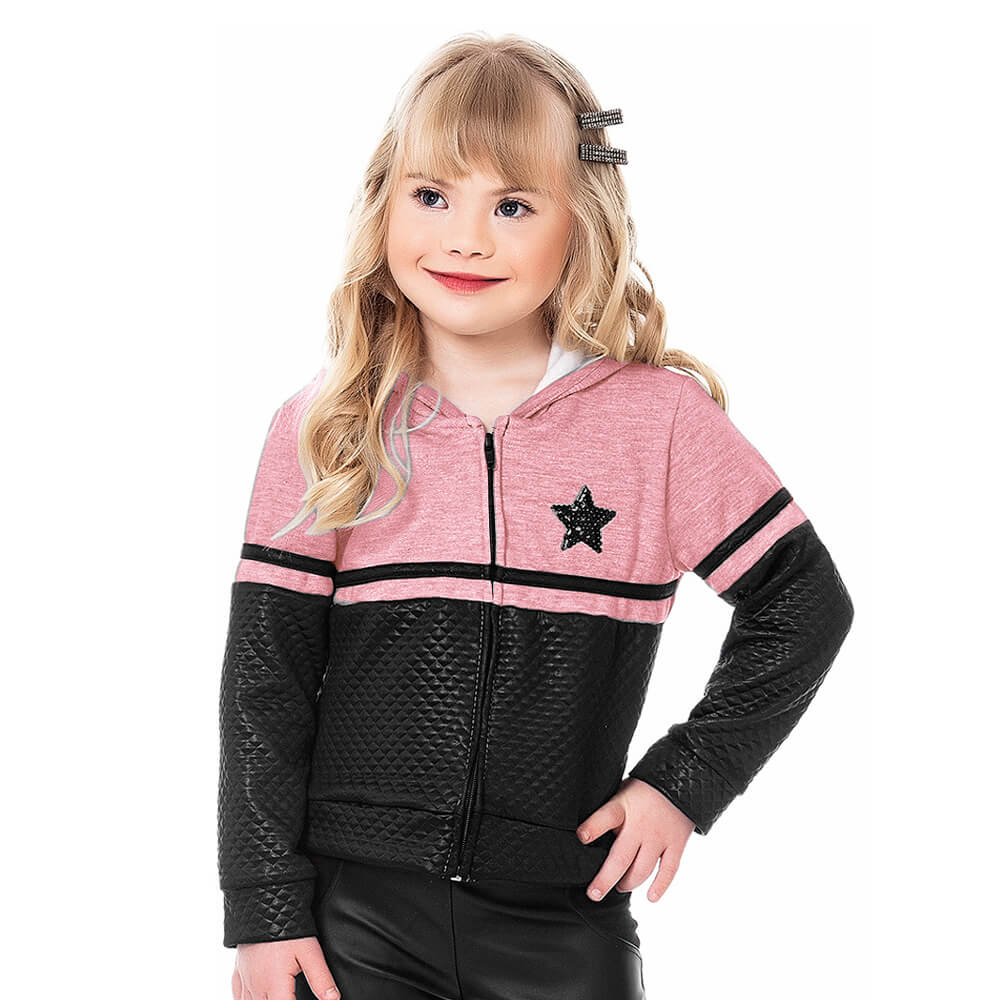 Jaqueta Infantil Menina Moletom Star Rosa