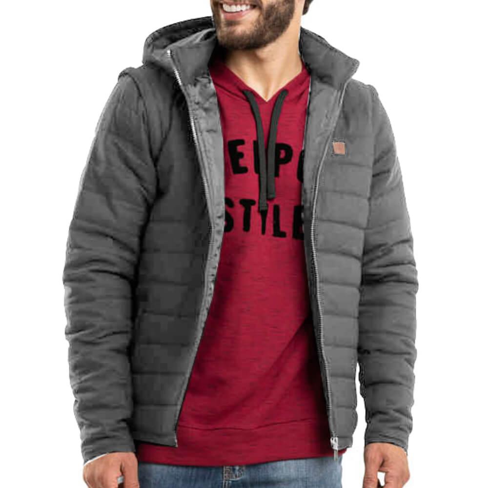 Jaqueta Masculina Com Capuz Cinza