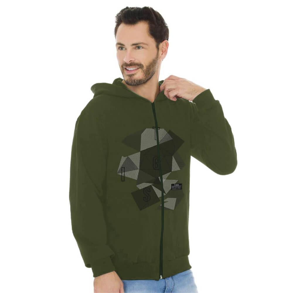 Jaqueta Masculina Moletom Canguru Estampada Abstrat