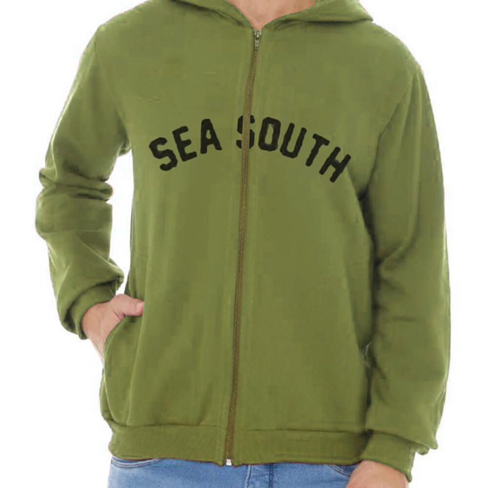 Jaqueta Masculina Moletom Canguru Estampada Green Sea