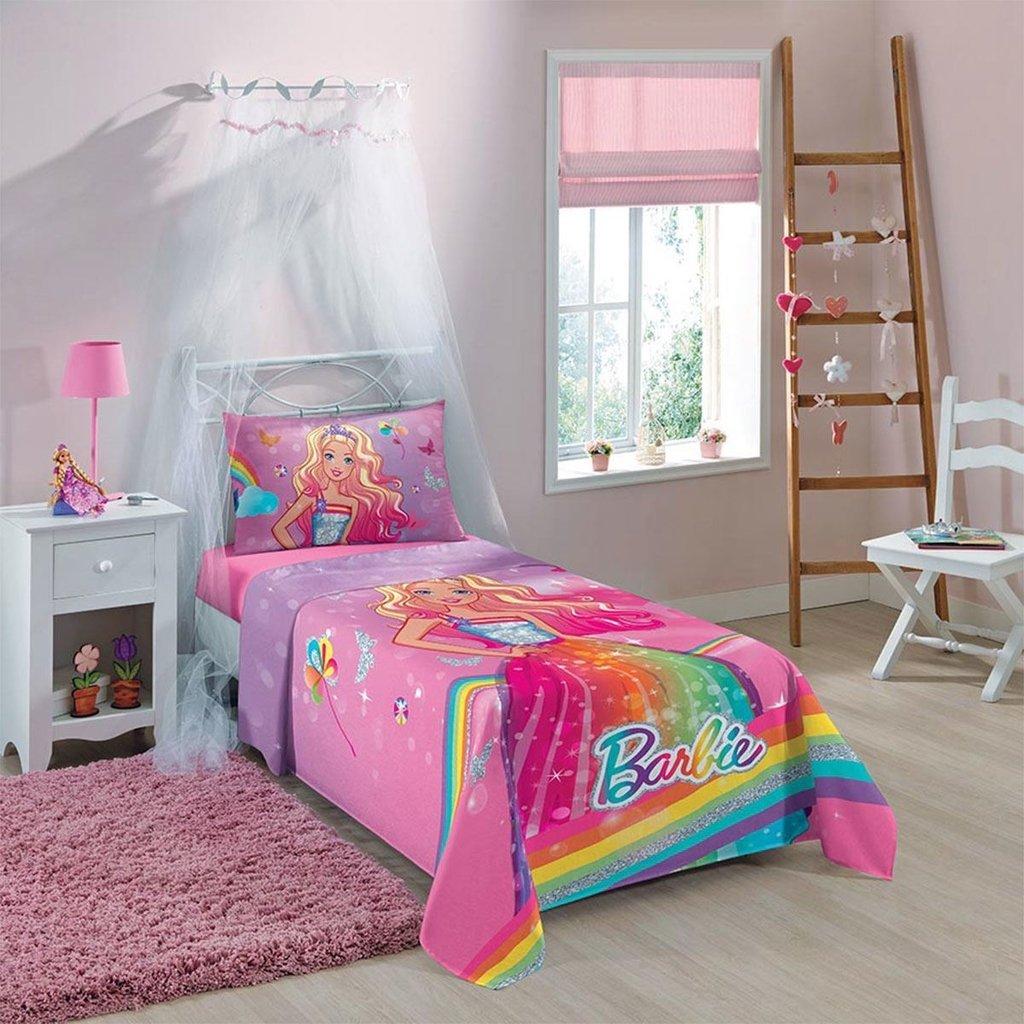 Jogo de Cama Infantil Barbie Penteados Lepper Kids
