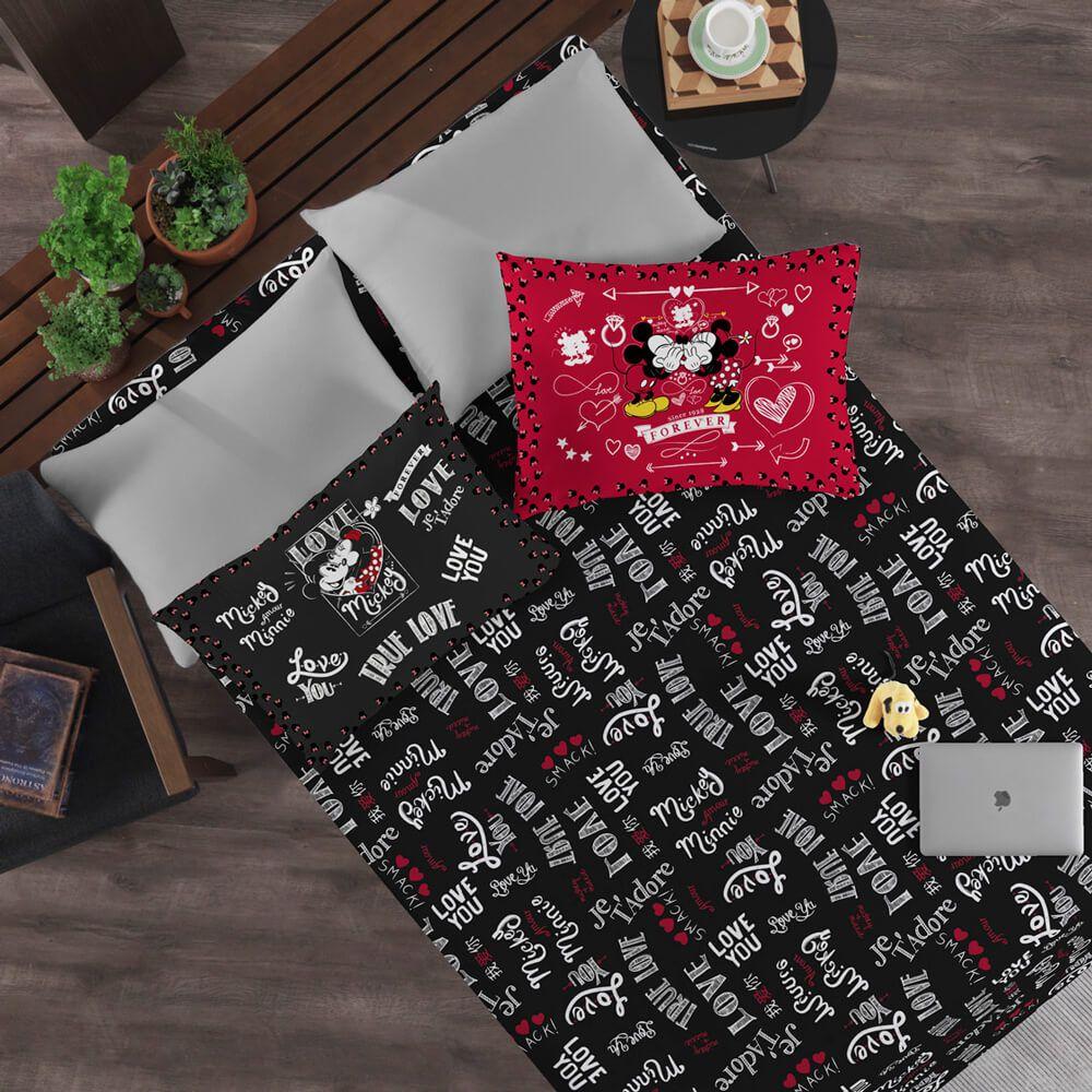Jogo de Cama Casal 3 Peças Mickey e Minnie
