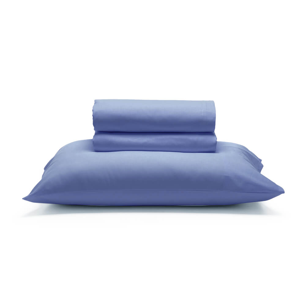 Jogo de Cama Casal 4 Peças 150 Fios Liso Fio Tinto Azul