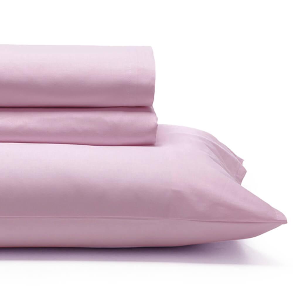 Jogo de Cama Casal 4 Peças 150 Fios Liso Fio Tinto Rosa
