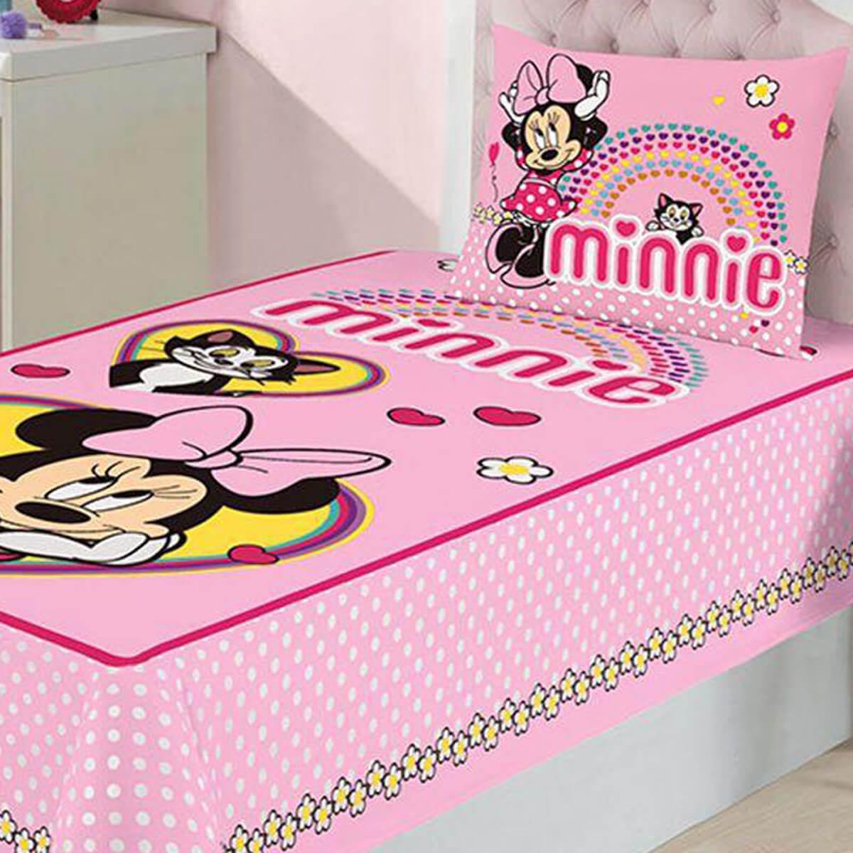 Jogo de Cama Infantil 2 Peças Minnie Love