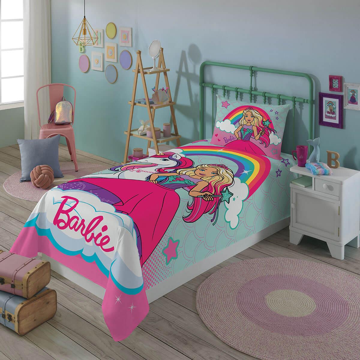 Jogo de Cama Infantil 2 Peças Barbie Reinos dos Unicórnios Mágicos