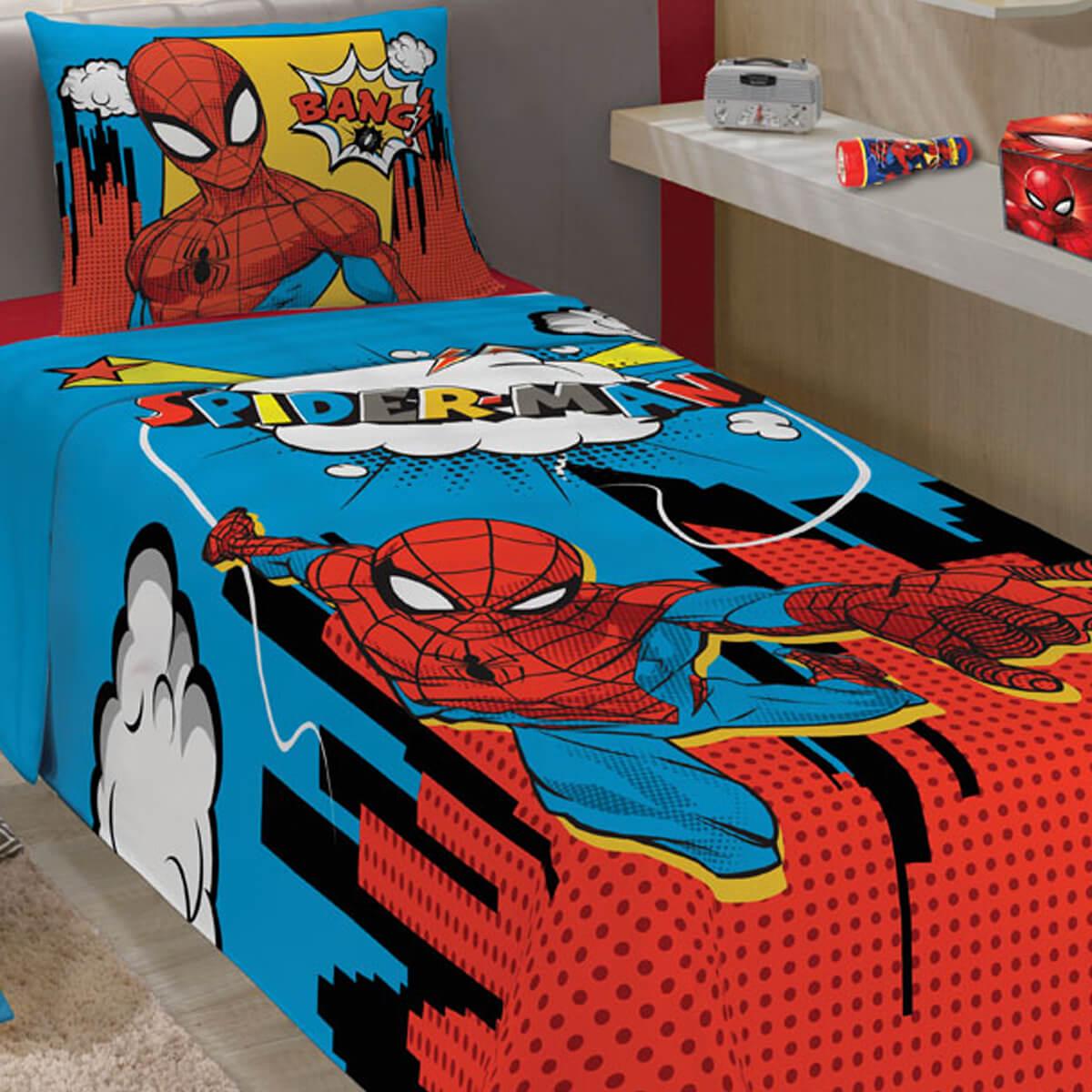 Jogo de Cama Infantil 2 Peças Homem Aranha Comic