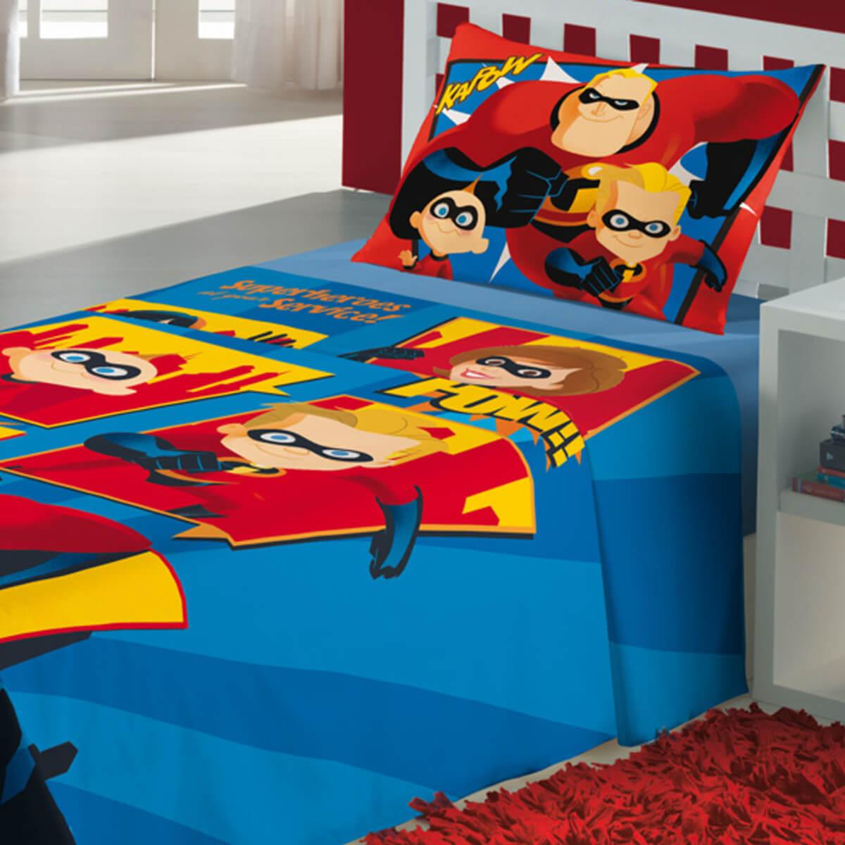 Jogo de Cama Infantil 2 Peças Os Incríveis