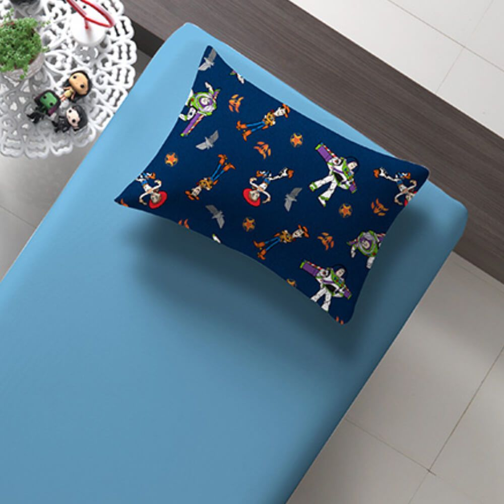 Jogo de Cama Infantil 2 Peças Malha Toy Story Azul