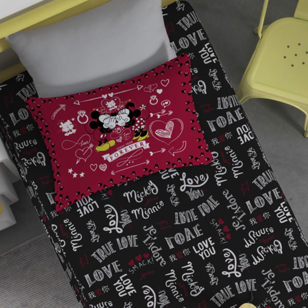 Jogo de Cama Infantil Mickey e Minnie J'Adore