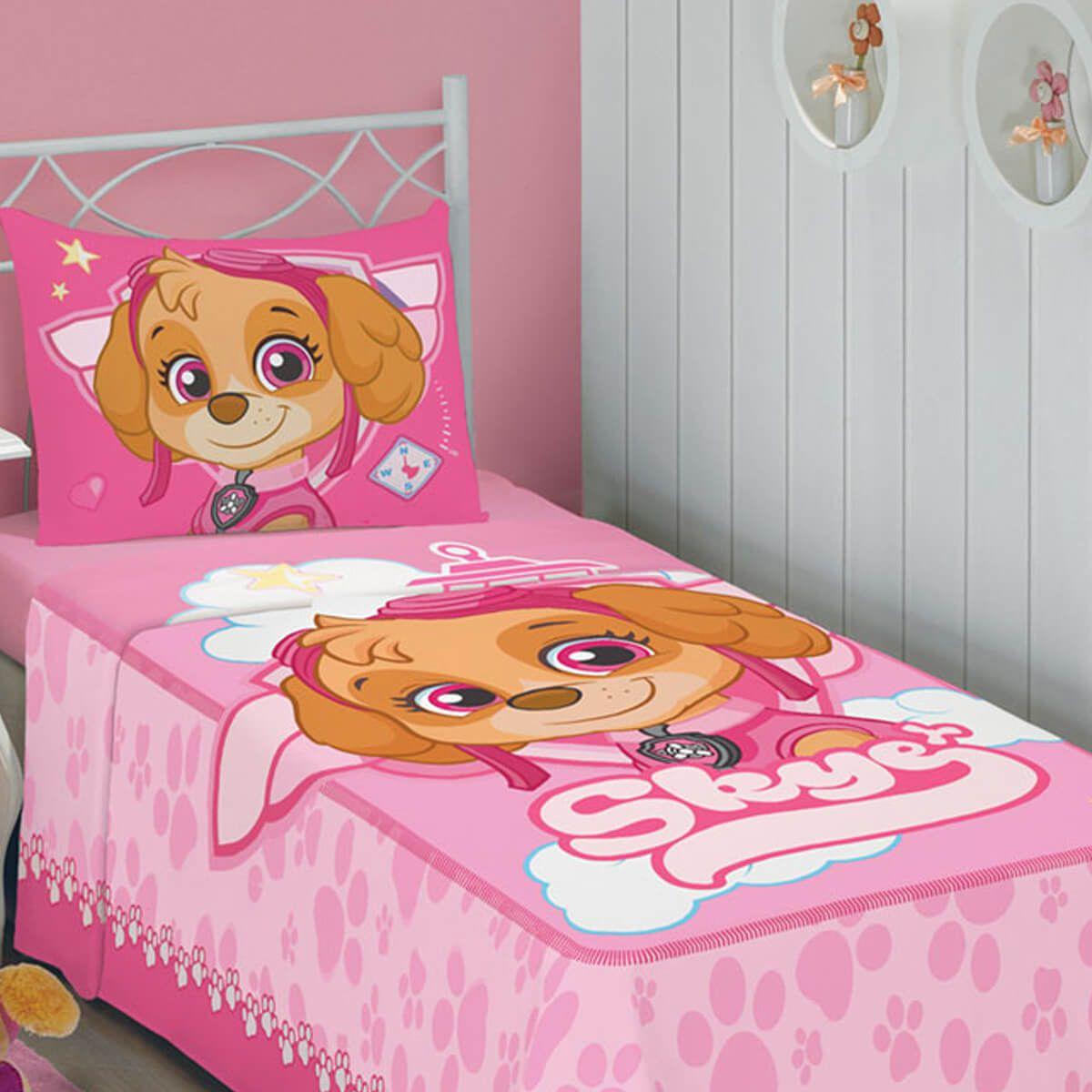 Jogo de Cama Infantil Patrulha Canina Rosa 2 Peças
