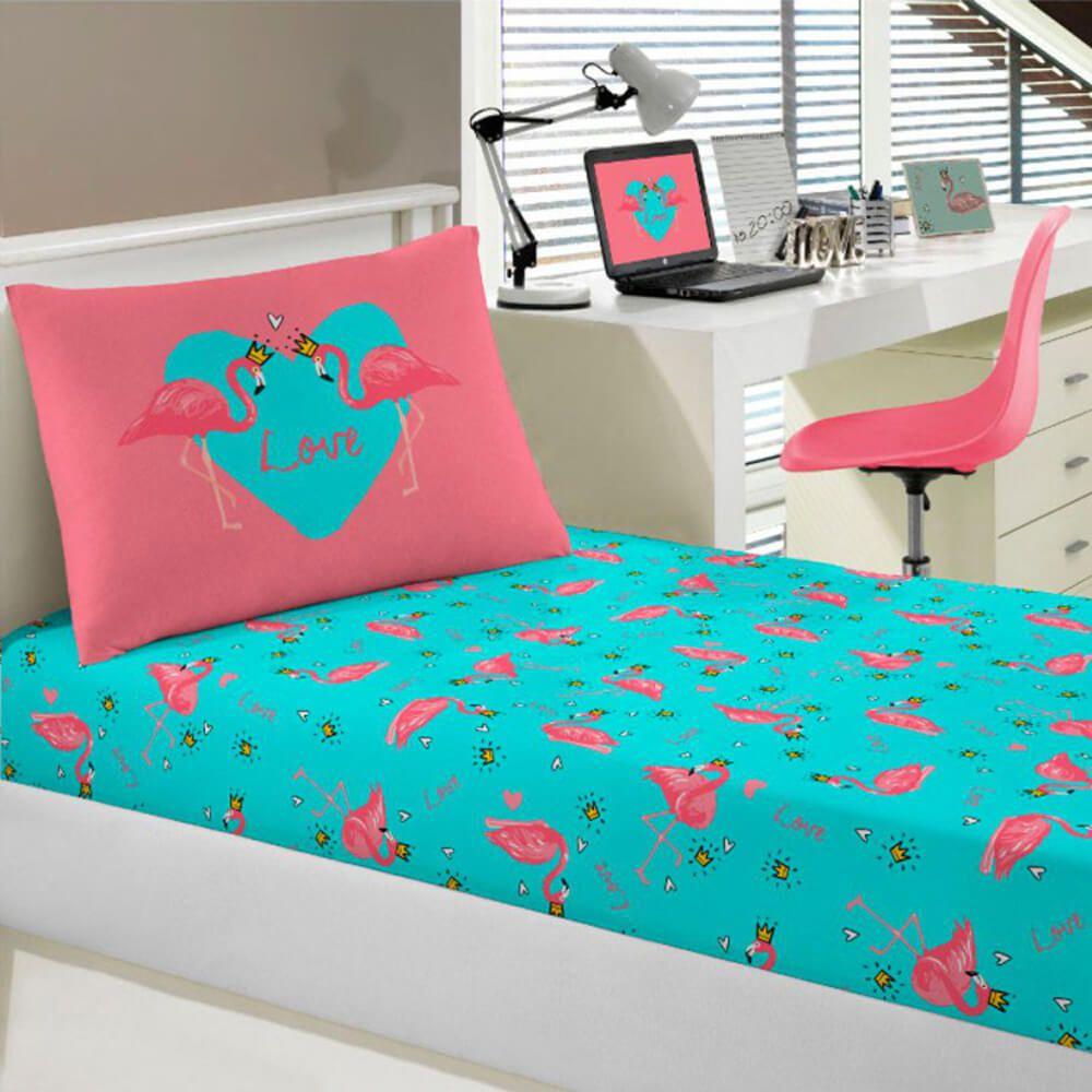 Jogo de Cama Solteiro 2 Peças Joy Flamingo