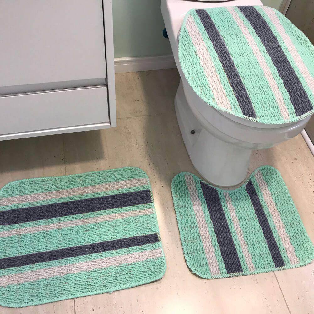 Jogo de Tapete de Banheiro 3 Peças Onix Anette